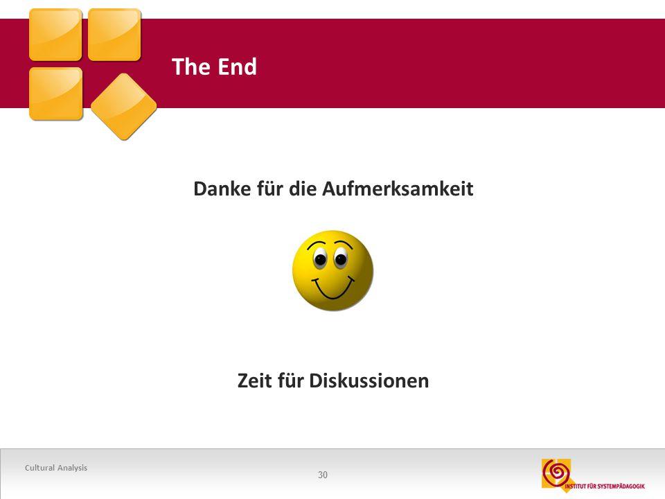 30 The End Danke für die Aufmerksamkeit Zeit für Diskussionen Cultural Analysis
