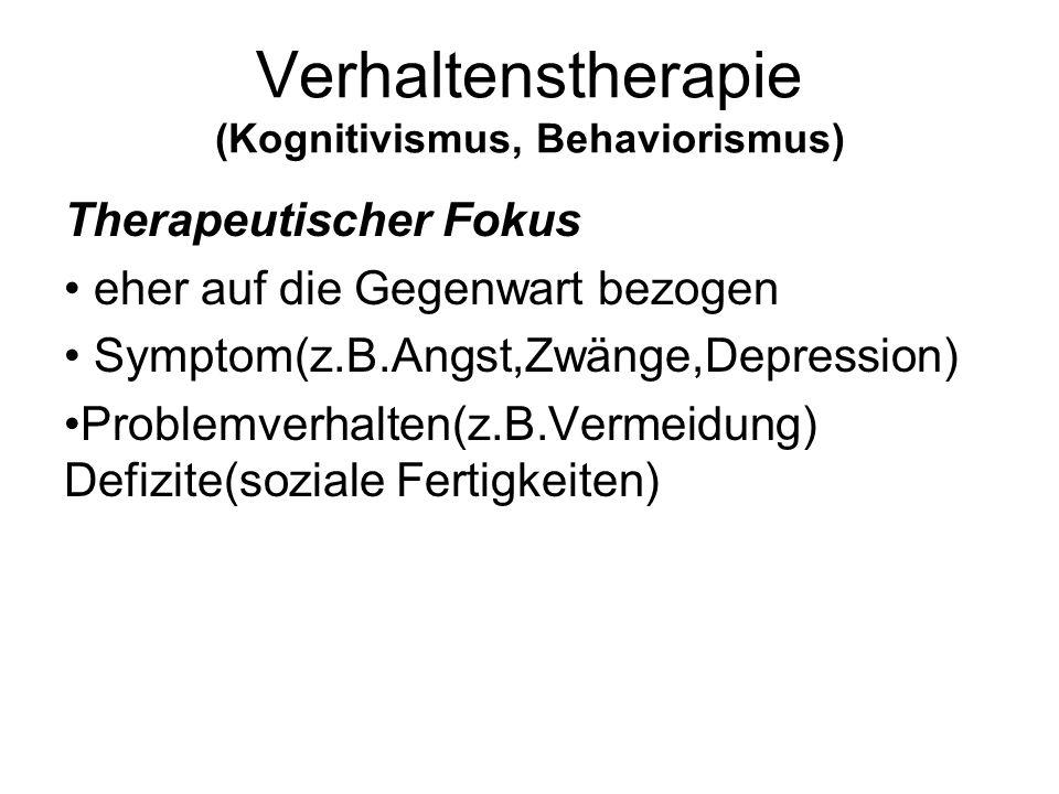Verhaltenstherapie (Kognitivismus, Behaviorismus) Therapeutischer Fokus eher auf die Gegenwart bezogen Symptom(z.B.Angst,Zwänge,Depression) Problemver