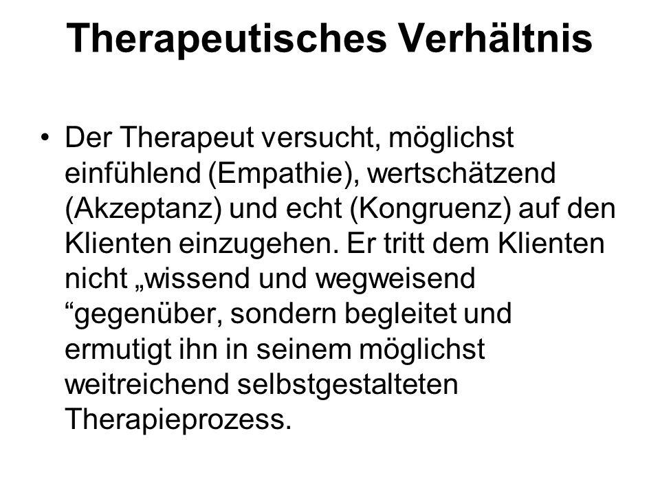 Therapeutisches Verhältnis Der Therapeut versucht, möglichst einfühlend (Empathie), wertschätzend (Akzeptanz) und echt (Kongruenz) auf den Klienten ei