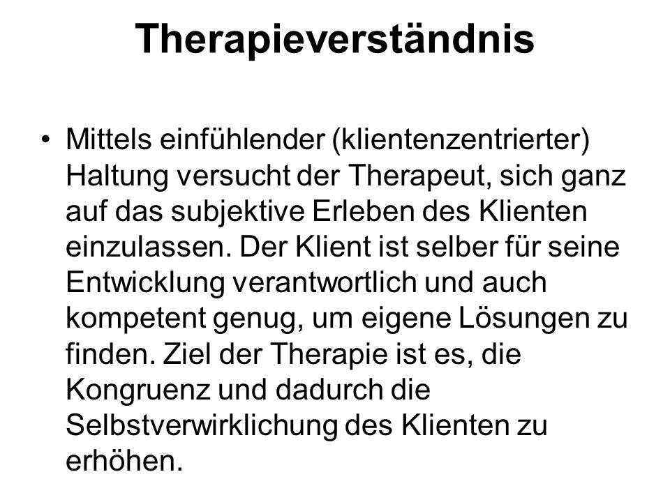 Therapieverständnis Mittels einfühlender (klientenzentrierter) Haltung versucht der Therapeut, sich ganz auf das subjektive Erleben des Klienten einzu