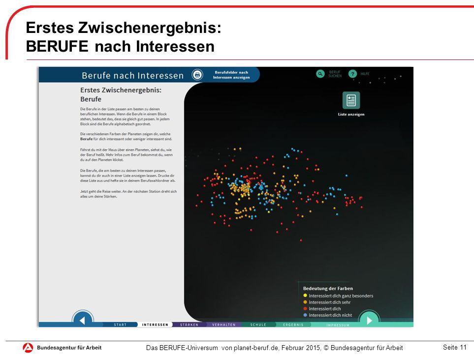 Seite 11 Erstes Zwischenergebnis: BERUFE nach Interessen Das BERUFE-Universum von planet-beruf.de, Februar 2015, © Bundesagentur für Arbeit