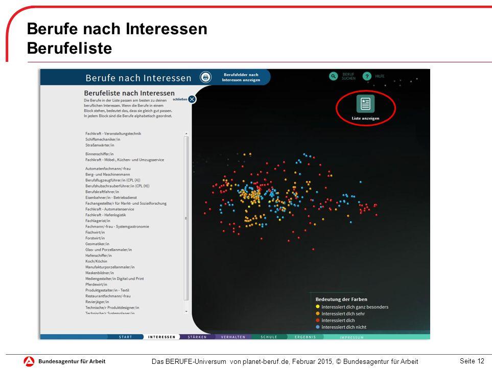 Seite 12 Berufe nach Interessen Berufeliste Das BERUFE-Universum von planet-beruf.de, Februar 2015, © Bundesagentur für Arbeit