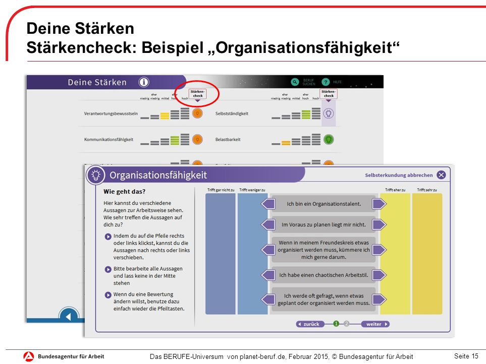 """Seite 15 Deine Stärken Stärkencheck: Beispiel """"Organisationsfähigkeit"""" Das BERUFE-Universum von planet-beruf.de, Februar 2015, © Bundesagentur für Arb"""