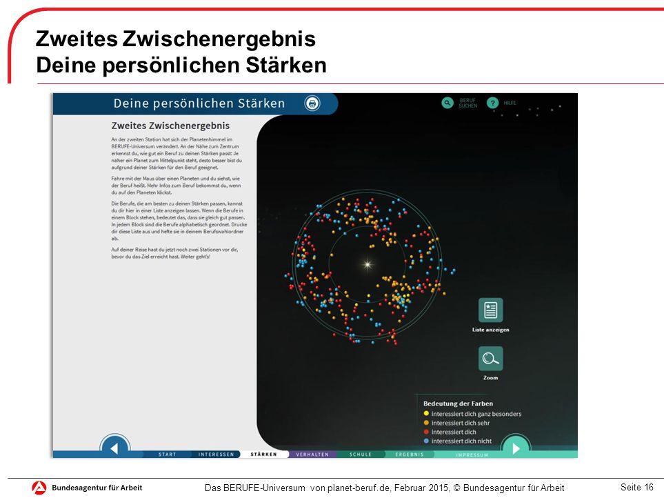 Seite 16 Zweites Zwischenergebnis Deine persönlichen Stärken Das BERUFE-Universum von planet-beruf.de, Februar 2015, © Bundesagentur für Arbeit