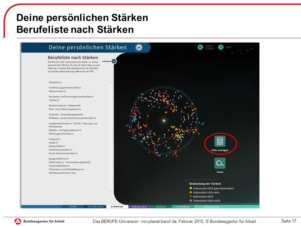 Seite 17 Deine persönlichen Stärken Berufeliste nach Stärken Das BERUFE-Universum von planet-beruf.de, Februar 2015, © Bundesagentur für Arbeit