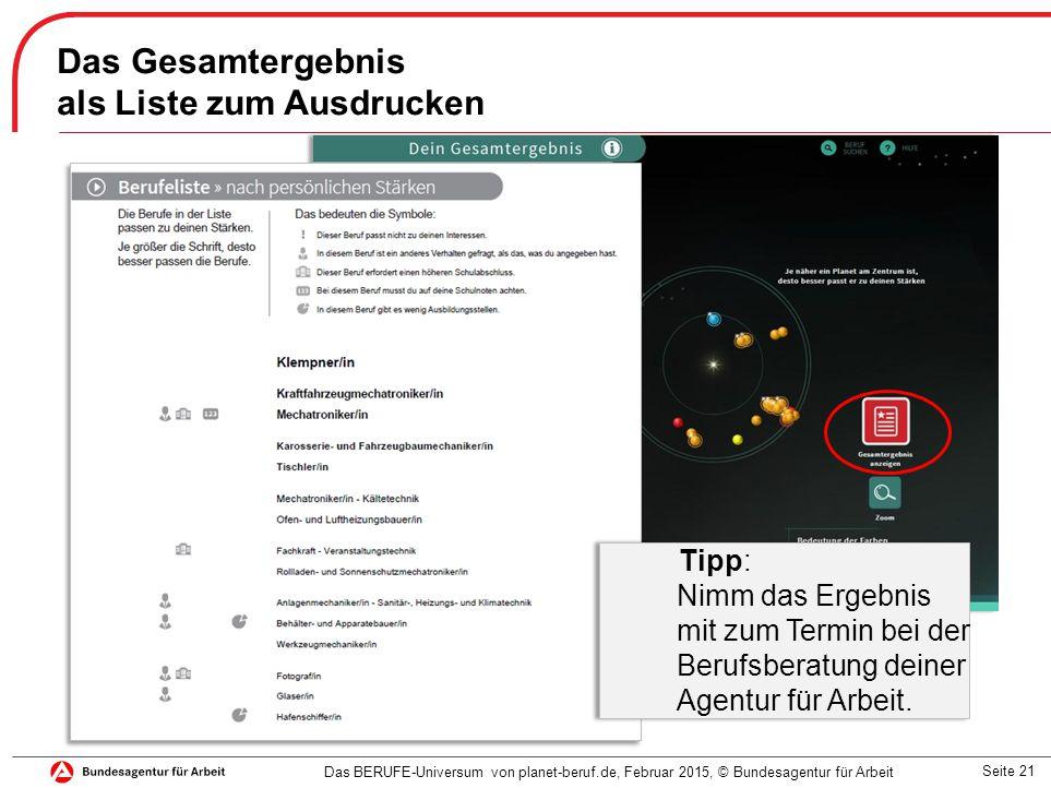 Seite 21 Das Gesamtergebnis als Liste zum Ausdrucken Das BERUFE-Universum von planet-beruf.de, Februar 2015, © Bundesagentur für Arbeit Tipp: Nimm das