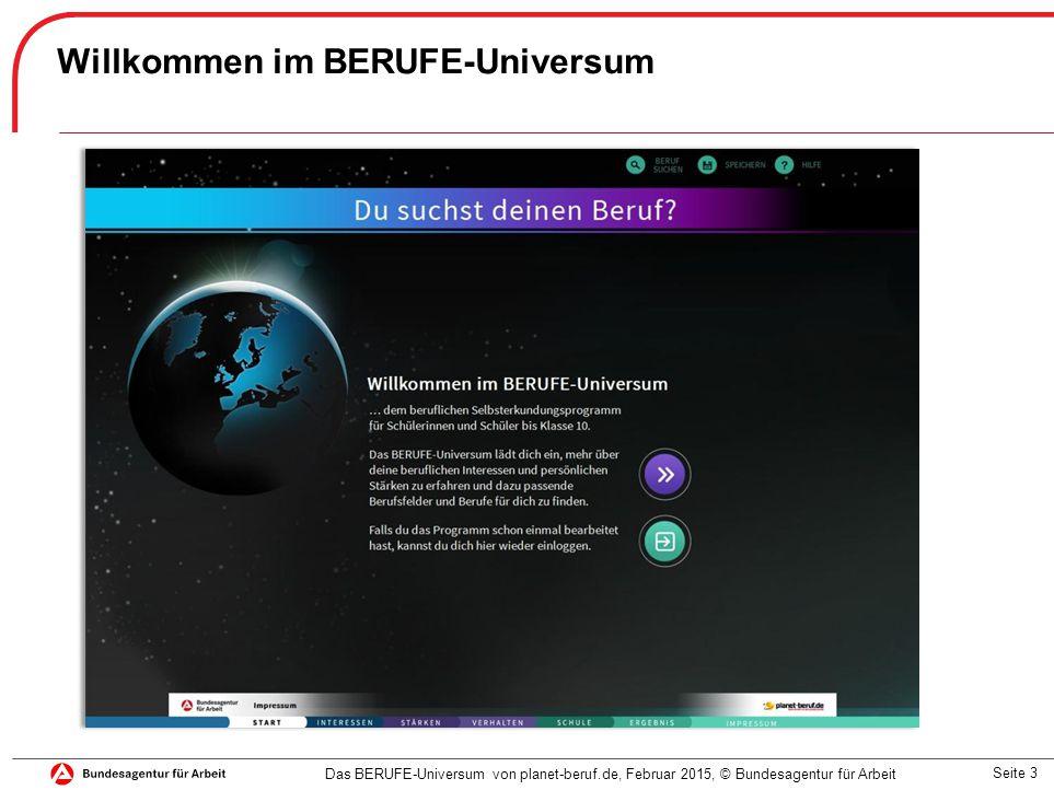 Seite 3 Willkommen im BERUFE-Universum Das BERUFE-Universum von planet-beruf.de, Februar 2015, © Bundesagentur für Arbeit