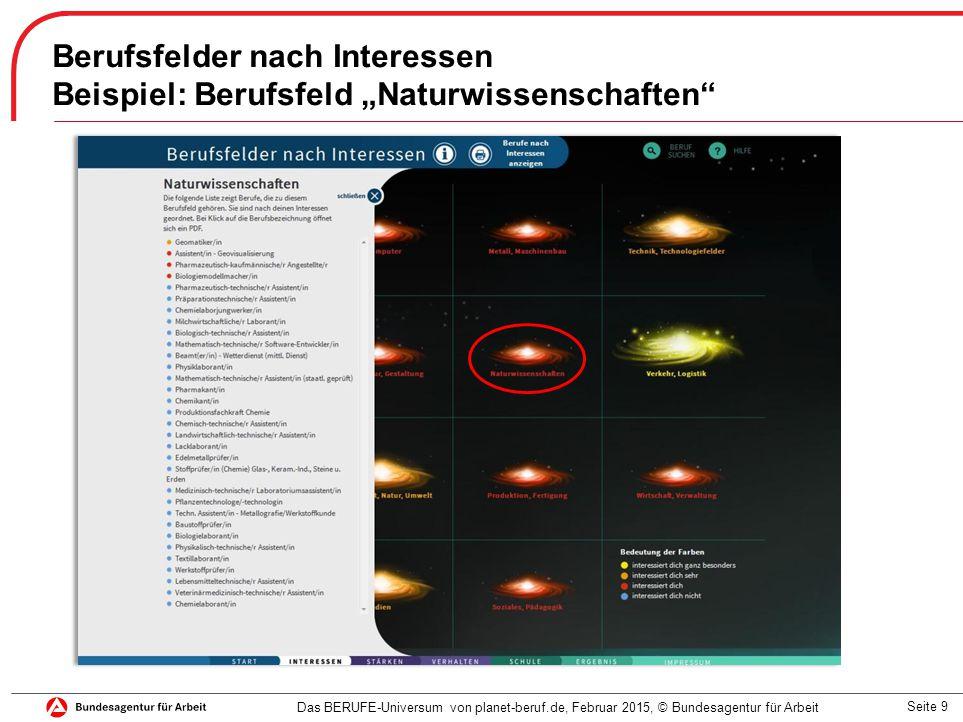 """Seite 9 Berufsfelder nach Interessen Beispiel: Berufsfeld """"Naturwissenschaften"""" Das BERUFE-Universum von planet-beruf.de, Februar 2015, © Bundesagentu"""