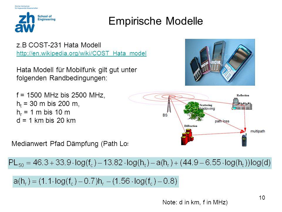 10 Empirische Modelle z.B COST-231 Hata Modell http://en.wikipedia.org/wiki/COST_Hata_model http://en.wikipedia.org/wiki/COST_Hata_model Hata Modell f