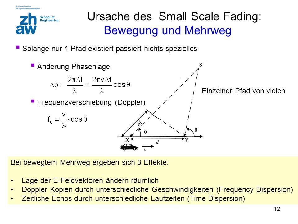 12 Ursache des Small Scale Fading: Bewegung und Mehrweg Bei bewegtem Mehrweg ergeben sich 3 Effekte: Lage der E-Feldvektoren ändern räumlich Doppler K