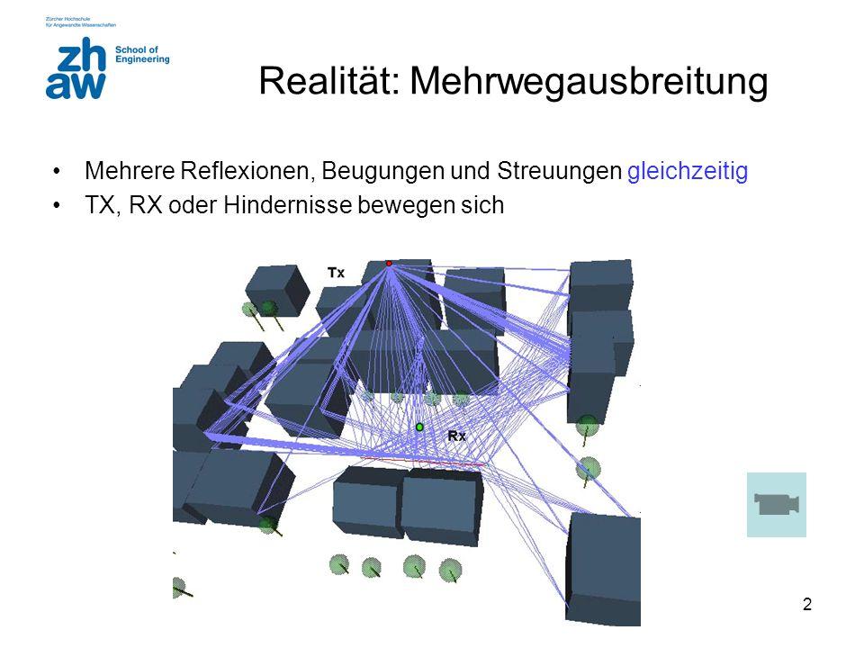 2 Realität: Mehrwegausbreitung Mehrere Reflexionen, Beugungen und Streuungen gleichzeitig TX, RX oder Hindernisse bewegen sich