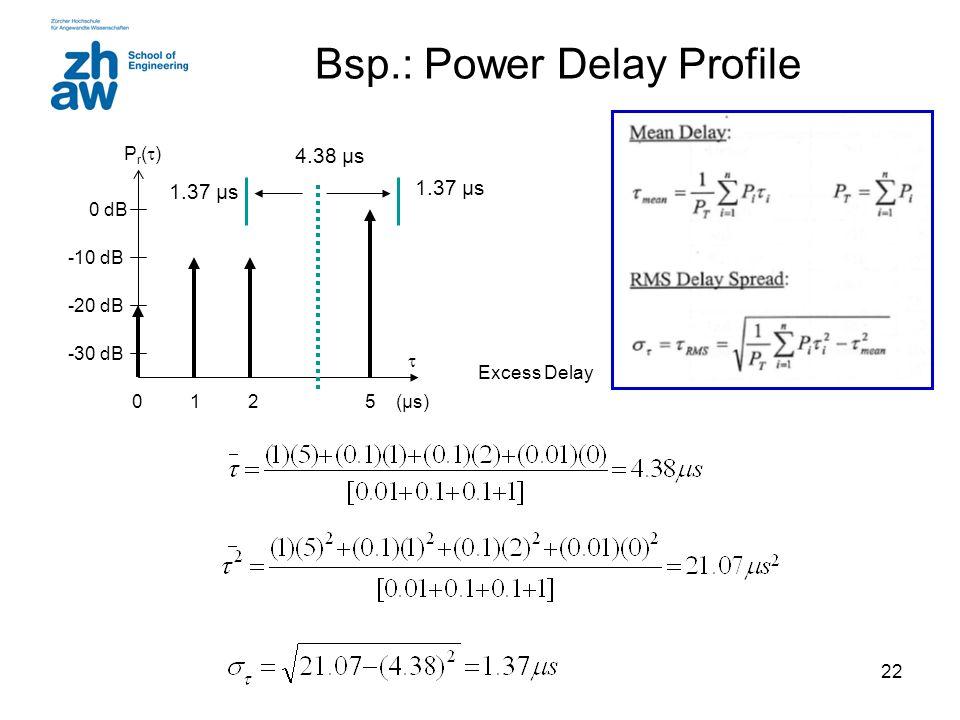 22 Bsp.: Power Delay Profile -30 dB -20 dB -10 dB 0 dB 0125 Pr()Pr() (µs)  1.37 µs 4.38 µs Excess Delay 1.37 µs
