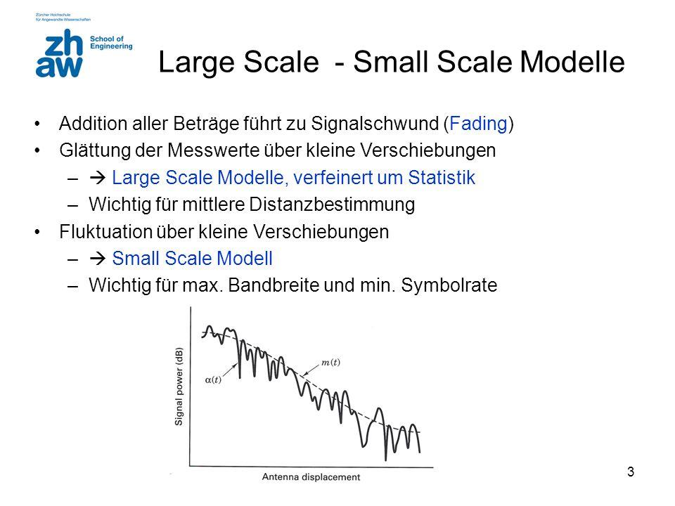 3 Large Scale - Small Scale Modelle Addition aller Beträge führt zu Signalschwund (Fading) Glättung der Messwerte über kleine Verschiebungen –  Large