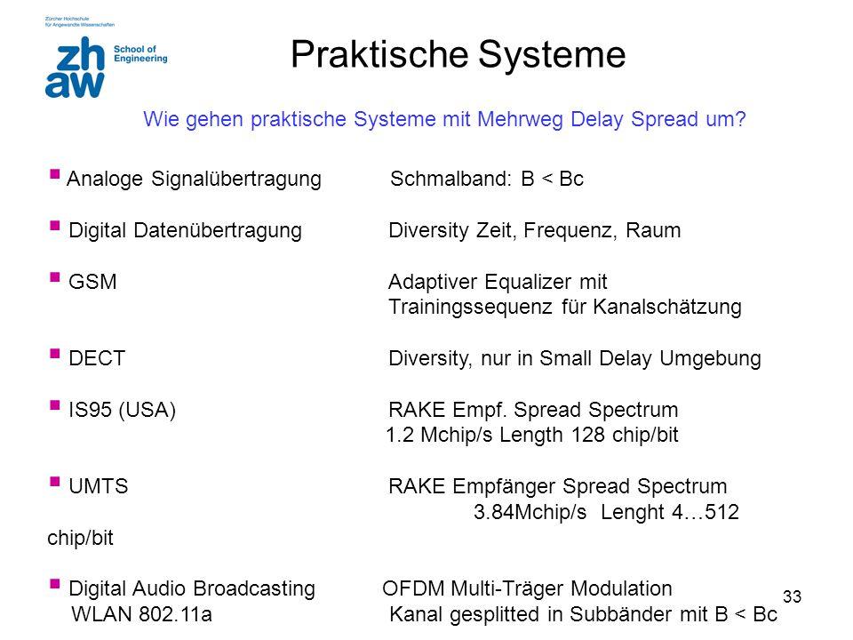 33 Praktische Systeme  Analoge Signalübertragung Schmalband: B < Bc  Digital DatenübertragungDiversity Zeit, Frequenz, Raum  GSMAdaptiver Equalizer