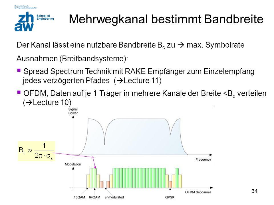 34 Mehrwegkanal bestimmt Bandbreite Der Kanal lässt eine nutzbare Bandbreite B c zu  max. Symbolrate Ausnahmen (Breitbandsysteme):  Spread Spectrum