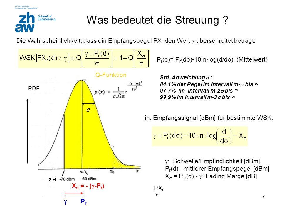 7 Was bedeutet die Streuung ? Std. Abweichung  : 84.1% der Pegel im Intervall m-  bis ∞ 97.7% im Intervall m-2  bis ∞ 99.9% im Intervall m-3  bis
