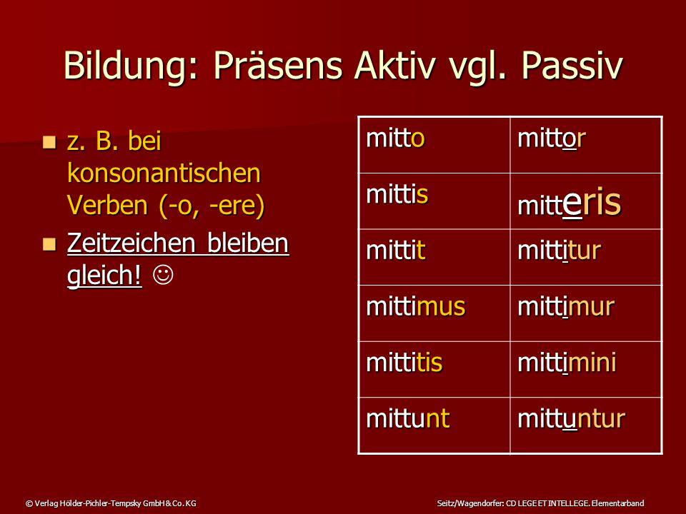 © Verlag Hölder-Pichler-Tempsky GmbH & Co. KG Seitz/Wagendorfer: CD LEGE ET INTELLEGE. Elementarband Bildung: Präsens Aktiv vgl. Passiv z. B. bei kons