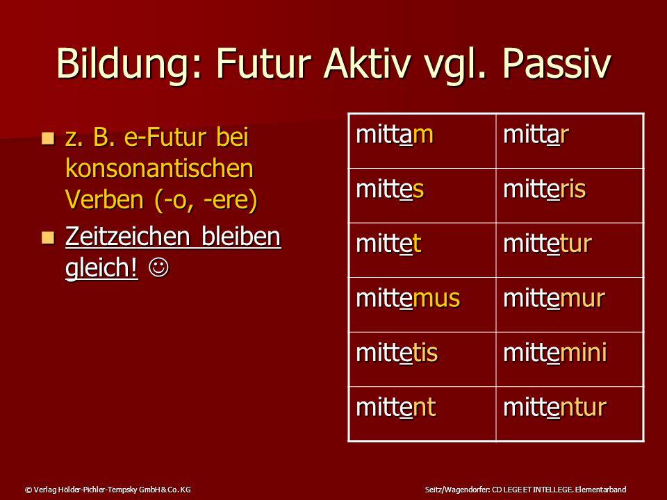 © Verlag Hölder-Pichler-Tempsky GmbH & Co. KG Seitz/Wagendorfer: CD LEGE ET INTELLEGE. Elementarband Bildung: Futur Aktiv vgl. Passiv z. B. e-Futur be