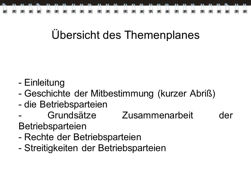 Übersicht des Themenplanes - Einleitung - Geschichte der Mitbestimmung (kurzer Abriß) - die Betriebsparteien - Grundsätze Zusammenarbeit der Betriebsp