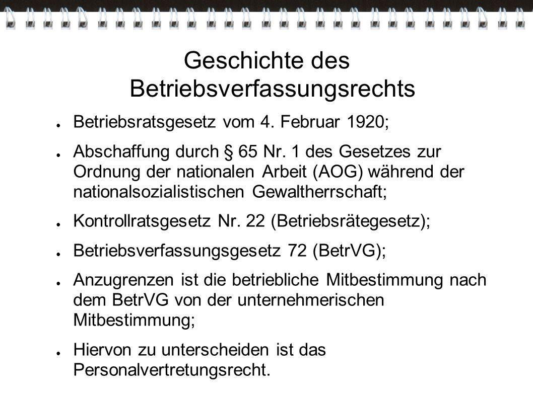 Geschichte des Betriebsverfassungsrechts ● Betriebsratsgesetz vom 4. Februar 1920; ● Abschaffung durch § 65 Nr. 1 des Gesetzes zur Ordnung der nationa