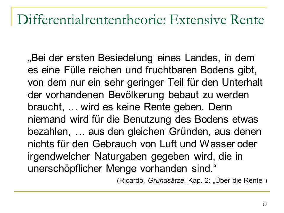 """10 Differentialrententheorie: Extensive Rente """"Bei der ersten Besiedelung eines Landes, in dem es eine Fülle reichen und fruchtbaren Bodens gibt, von dem nur ein sehr geringer Teil für den Unterhalt der vorhandenen Bevölkerung bebaut zu werden braucht, … wird es keine Rente geben."""