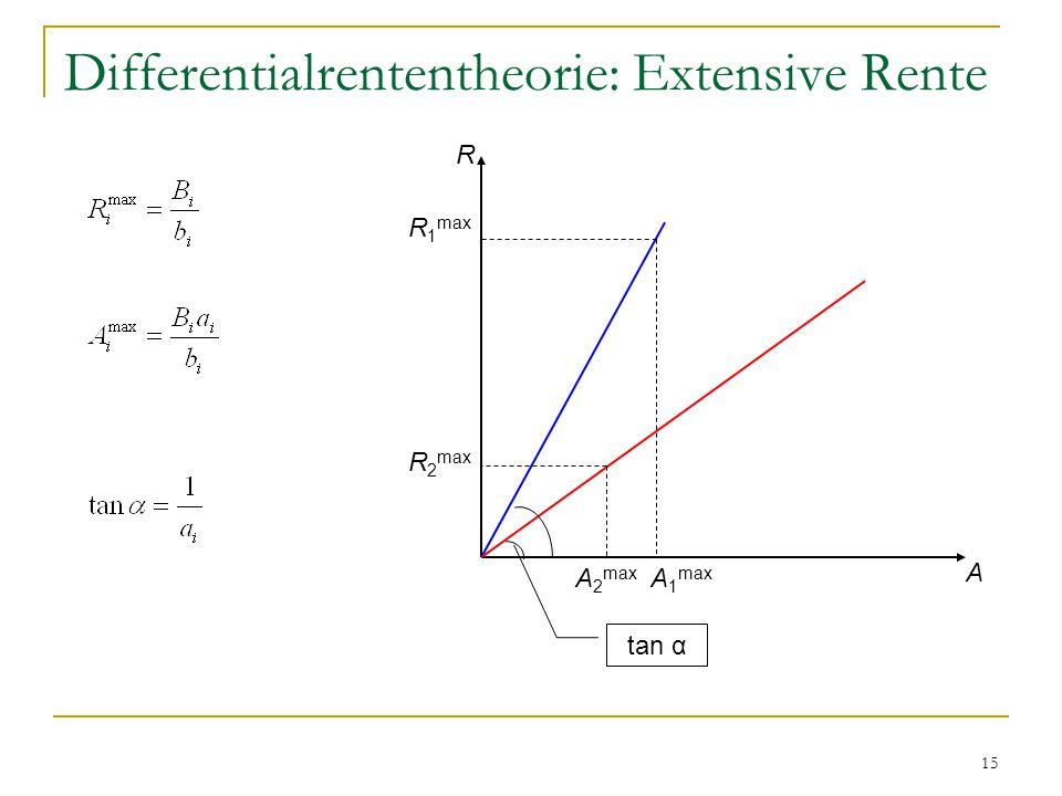 15 Differentialrententheorie: Extensive Rente R A R 1 max A 1 max R 2 max A 2 max tan α