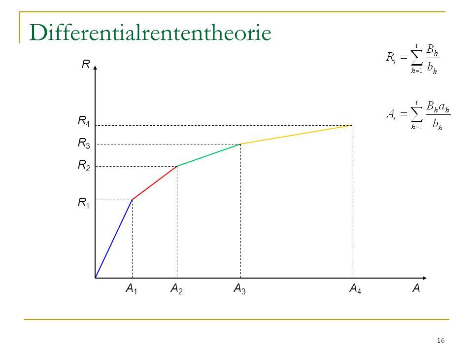 16 Differentialrententheorie R AA2A2 A3A3 A1A1 A4A4 R1R1 R2R2 R3R3 R4R4