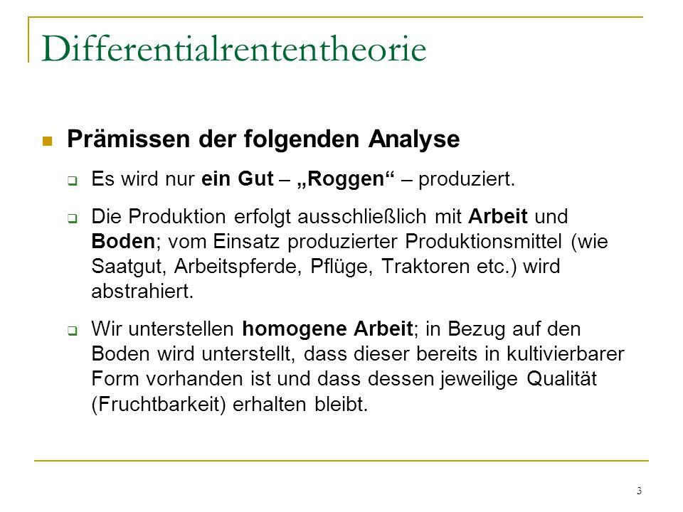 """3 Differentialrententheorie Prämissen der folgenden Analyse  Es wird nur ein Gut – """"Roggen – produziert."""