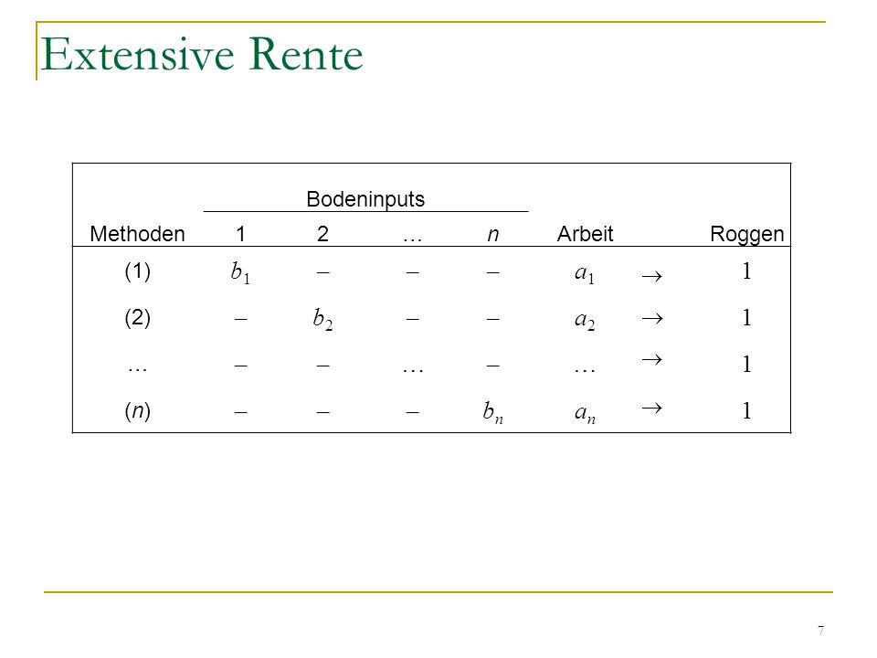7 Bodeninputs Methoden12…nArbeitRoggen (1) b1b1 –––a1a1 1 (2) –b2b2 ––a2a2 1 … ––…–…1 (n)(n) –––bnbn anan 1