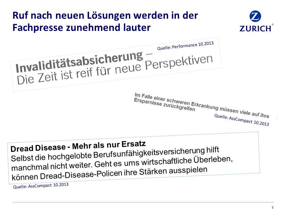Ruf nach neuen Lösungen werden in der Fachpresse zunehmend lauter 5 Quelle: AssCompact 10.2013 Quelle: Performance 10.2013 Dread Disease - Mehr als nu