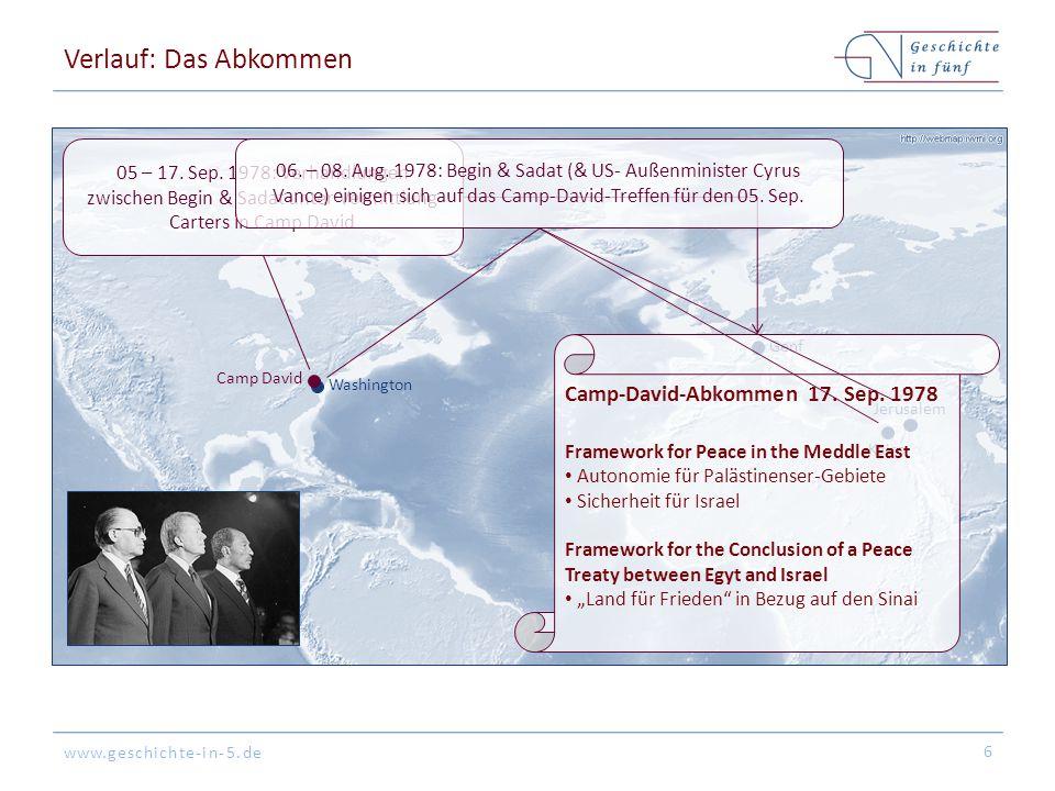 www.geschichte-in-5.de Washington Kairo Jerusalem Camp David Genf Verlauf: Das Abkommen 6 05 – 17. Sep. 1978: Verhandlungen zwischen Begin & Sadat unt