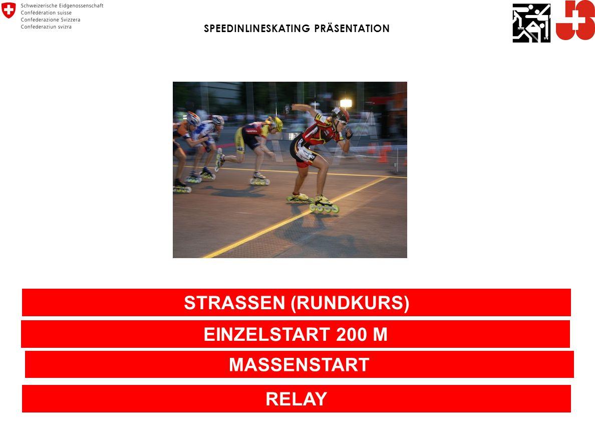 STRASSEN (RUNDKURS) EINZELSTART 200 M MASSENSTART RELAY SPEEDINLINESKATING PRÄSENTATION