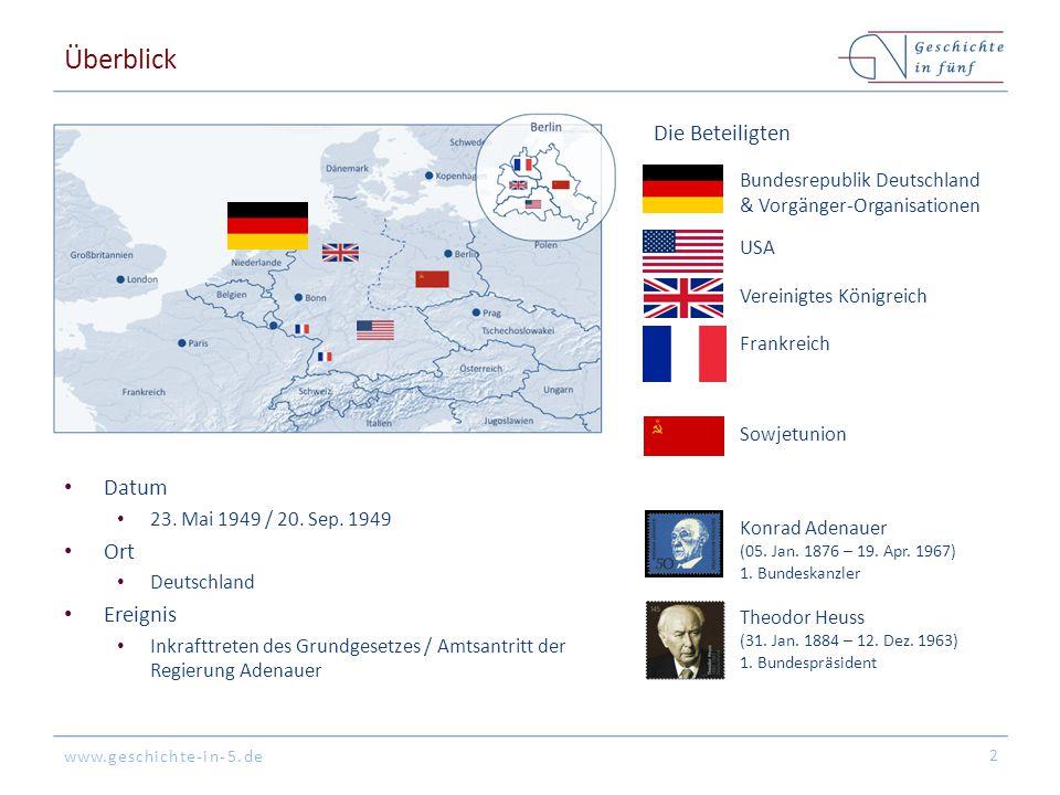 www.geschichte-in-5.de Überblick Datum 23. Mai 1949 / 20. Sep. 1949 Ort Deutschland Ereignis Inkrafttreten des Grundgesetzes / Amtsantritt der Regieru