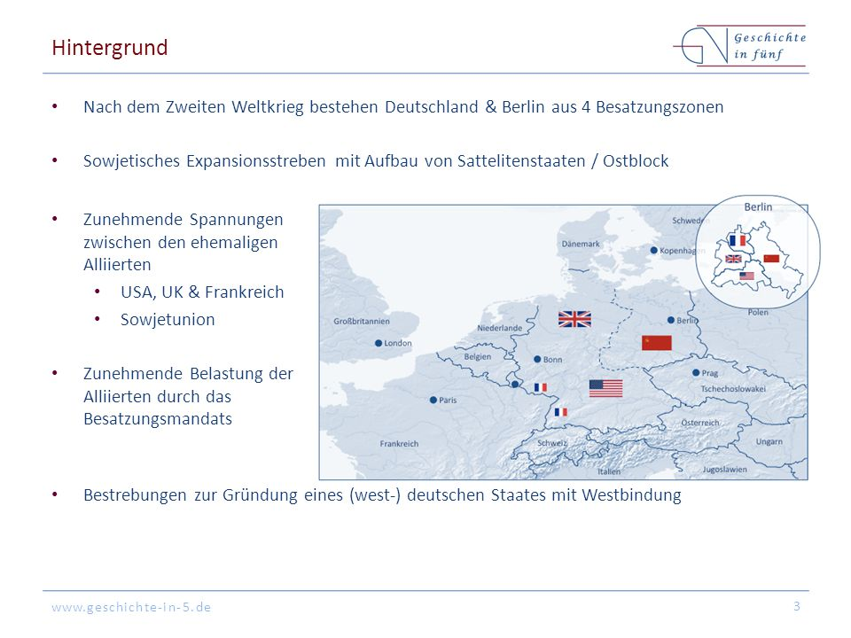 www.geschichte-in-5.de Hintergrund Nach dem Zweiten Weltkrieg bestehen Deutschland & Berlin aus 4 Besatzungszonen Sowjetisches Expansionsstreben mit A