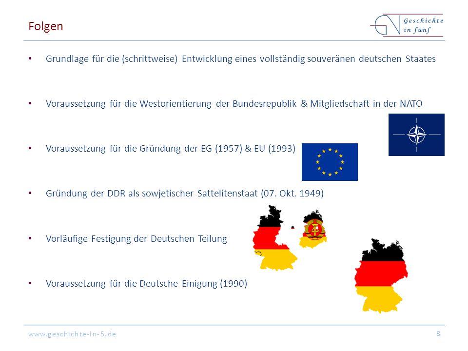 www.geschichte-in-5.de Folgen Grundlage für die (schrittweise) Entwicklung eines vollständig souveränen deutschen Staates Voraussetzung für die Westor