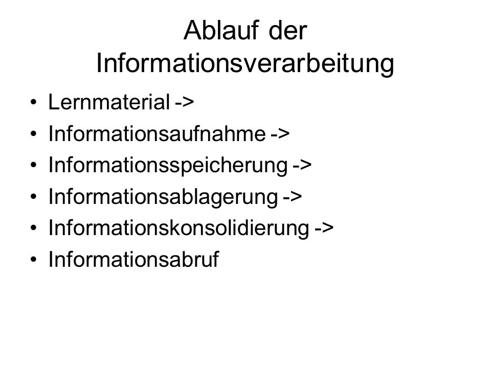 Lernmaterial -> Informationsaufnahme -> Informationsspeicherung -> Informationsablagerung -> Informationskonsolidierung -> Informationsabruf