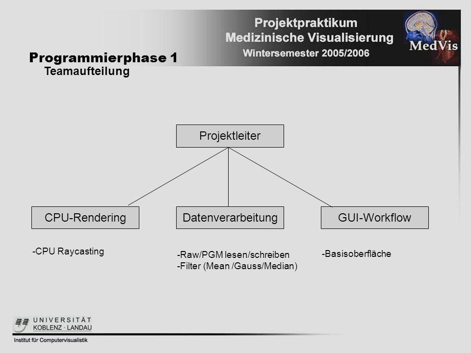 Datenverarbeitung Programmierphase 1 Teamaufteilung Projektleiter GUI-WorkflowCPU-Rendering -CPU Raycasting -Raw/PGM lesen/schreiben -Filter (Mean /Ga