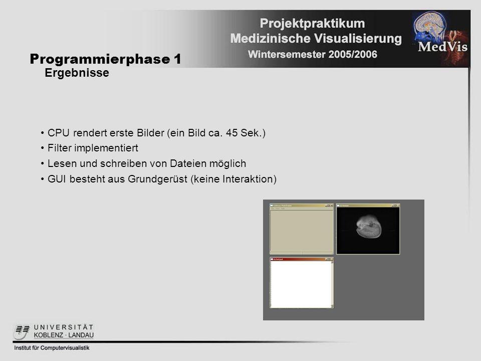 Programmierphase 1 Ergebnisse CPU rendert erste Bilder (ein Bild ca. 45 Sek.) Filter implementiert Lesen und schreiben von Dateien möglich GUI besteht