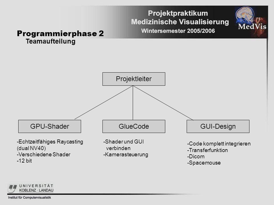 GlueCode Programmierphase 2 Teamaufteilung Projektleiter GUI-DesignGPU-Shader -Echtzeitfähiges Raycasting (dual NV40) -Verschiedene Shader -12 bit -Sh