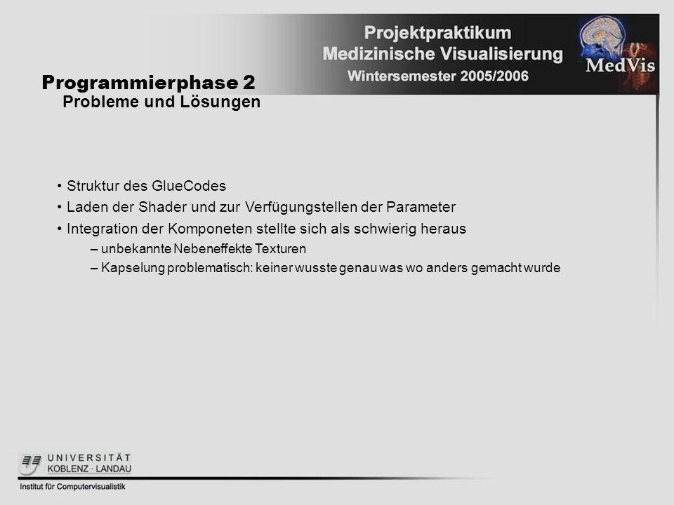Programmierphase 2 Probleme und Lösungen Struktur des GlueCodes Laden der Shader und zur Verfügungstellen der Parameter Integration der Komponeten ste