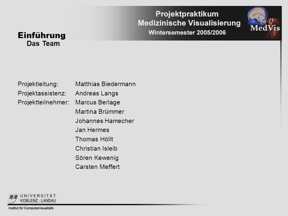 Einführung Projektleitung:Matthias Biedermann Projektassistenz:Andreas Langs Projektteilnehmer:Marcus Berlage Martina Brümmer Johannes Hamecher Jan He