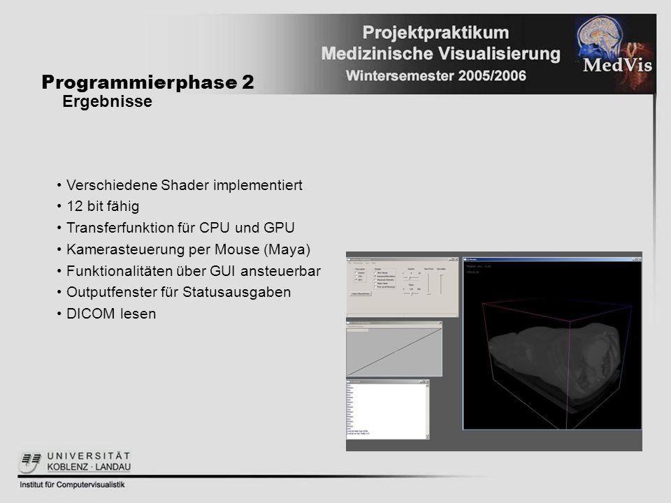 Programmierphase 2 Ergebnisse Verschiedene Shader implementiert 12 bit fähig Transferfunktion für CPU und GPU Kamerasteuerung per Mouse (Maya) Funktio