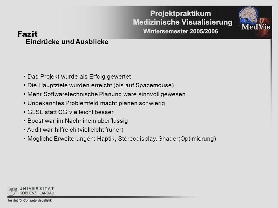 Fazit Eindrücke und Ausblicke Das Projekt wurde als Erfolg gewertet Die Hauptziele wurden erreicht (bis auf Spacemouse) Mehr Softwaretechnische Planun