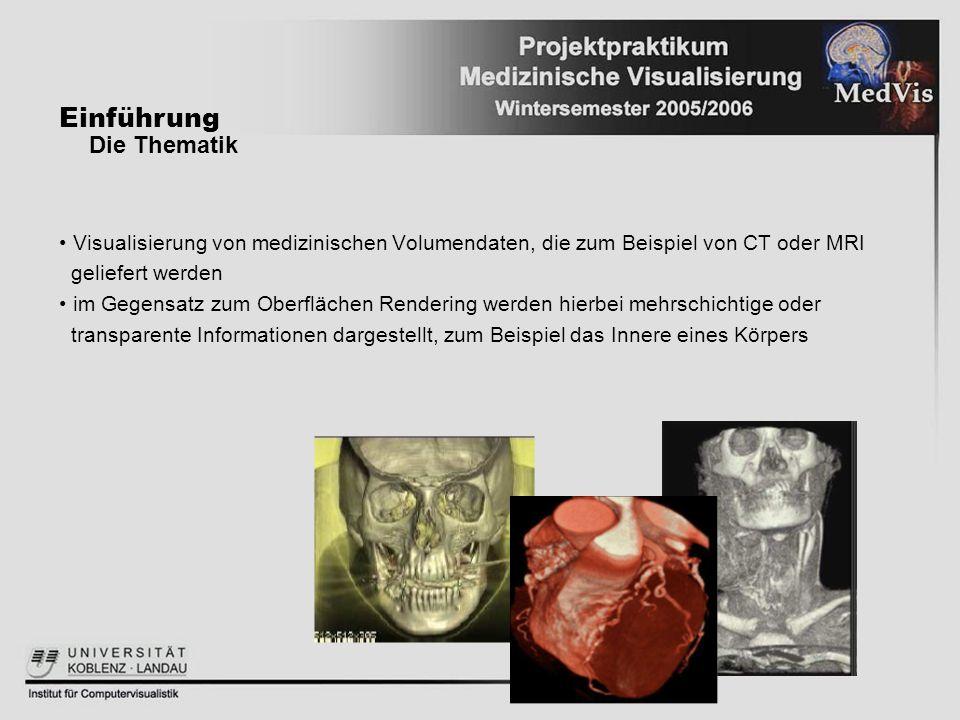 Visualisierung von medizinischen Volumendaten, die zum Beispiel von CT oder MRI geliefert werden im Gegensatz zum Oberflächen Rendering werden hierbei