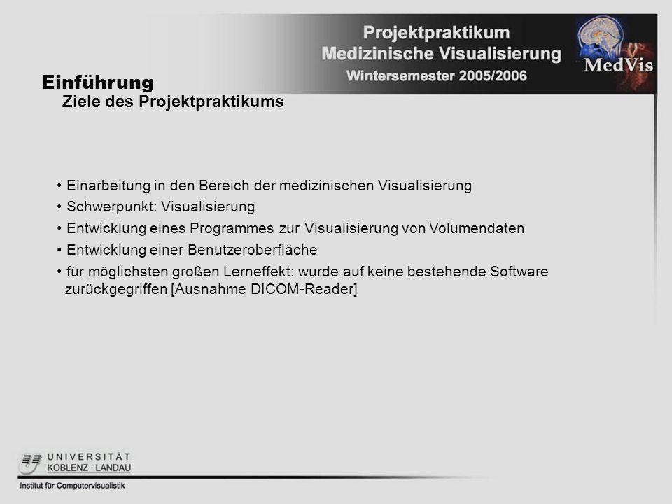 Einführung Ziele des Projektpraktikums Einarbeitung in den Bereich der medizinischen Visualisierung Schwerpunkt: Visualisierung Entwicklung eines Prog