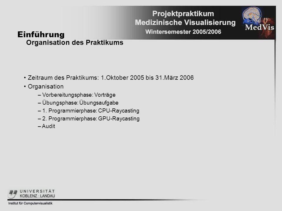 Einführung Organisation des Praktikums Zeitraum des Praktikums: 1.Oktober 2005 bis 31.März 2006 Organisation – Vorbereitungsphase: Vorträge – Übungsph