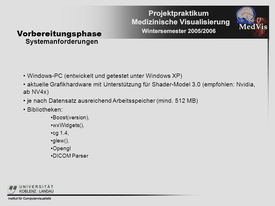 Vorbereitungsphase Systemanforderungen Windows-PC (entwickelt und getestet unter Windows XP) aktuelle Grafikhardware mit Unterstützung für Shader-Mode