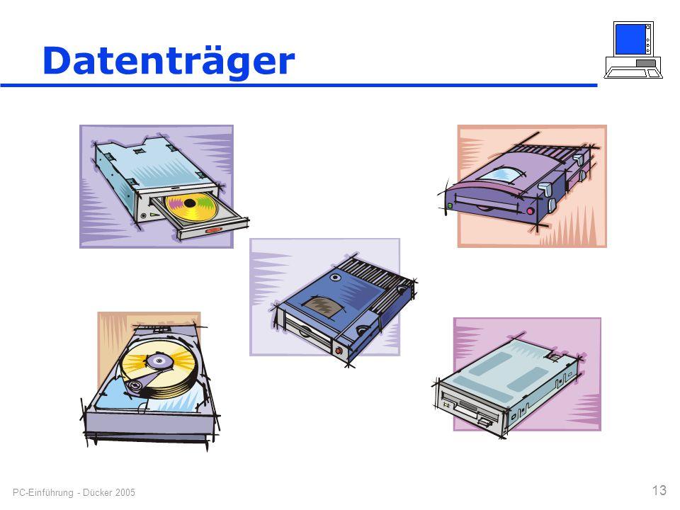 PC-Einführung - Dücker 2005 13 Datenträger