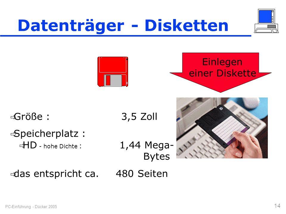PC-Einführung - Dücker 2005 14 Datenträger - Disketten  Größe : 3,5 Zoll  Speicherplatz :  HD - hohe Dichte : 1,44 Mega- Bytes  das entspricht ca.