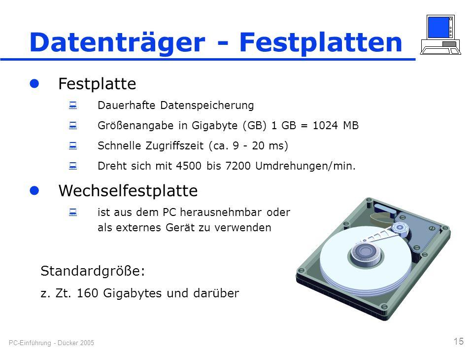 PC-Einführung - Dücker 2005 15 Datenträger - Festplatten Standardgröße: z. Zt. 160 Gigabytes und darüber Festplatte  Dauerhafte Datenspeicherung  Gr